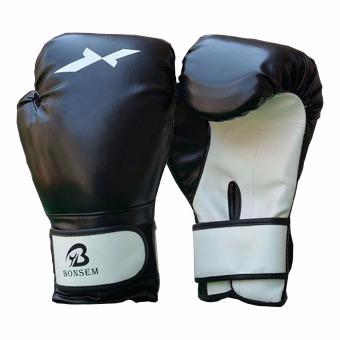 Ultimate Leather Boxing Gloves Fight Punch Muay thai Grappling Pad MMA Black - intl Price Philippines