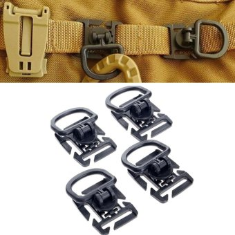 4Pcs Rotation D ring clip molle webbing clamp tactical backpack attachment strap hang military camp hike bushcraft moutain tool - intl Price Philippines