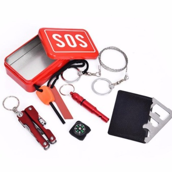 Harga 6-1 Emergency Kit SOS Tool Set Box Outdoor Sport Camping Hiking Survival First Aid Kits - intl