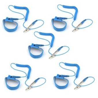 eMylo Pack of 5 PCS Anti-static Wrist Strap Grounding Coiled Cord with Adjustable Band Blue Price Philippines
