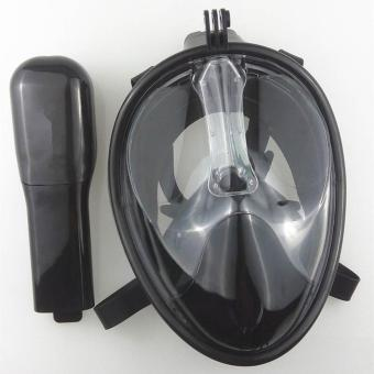 Harga 180° View Snorkel Mask Full Face Design Snorkeling - anti-fog and anti-leak Technology-BLACK