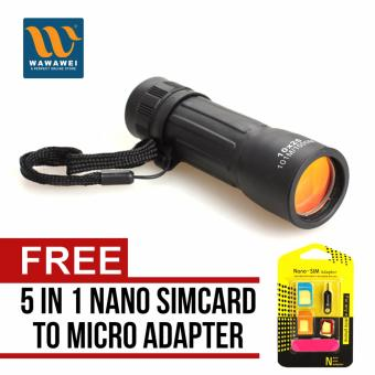 Harga Compact Handy Pocket Mini Monocular Telescope Golf Scope Carrying Case 10x25MM with free Nano SIM Adapter Nano to Micro SIM Micro SIM to Standard SIM Card Adapter 5 IN 1 Tools Kit