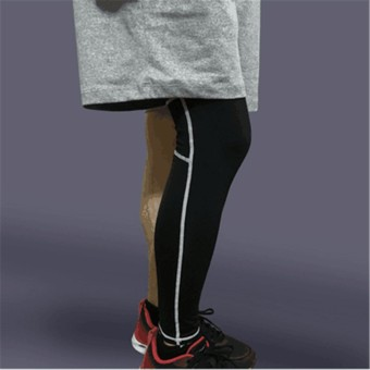 Unisex Compression Knee Leg Calf Support Sports Stretch Brace Long Sleeve Wrap Black +white XL - intl Price Philippines