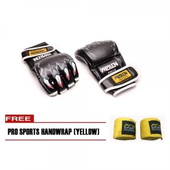 Wolon MMA Boxing Gloves (Black) with Pro Sports Handwrap (Yellow) Price Philippines