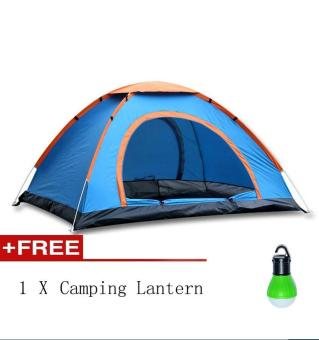 Harga Pop Up Camping Tent Automatic & Instant Setup Dome Waterproof Backpacking Tents for 3-4 Person Portable Hiking Pack Shelters + Free Camping Lantern(Green) - intl