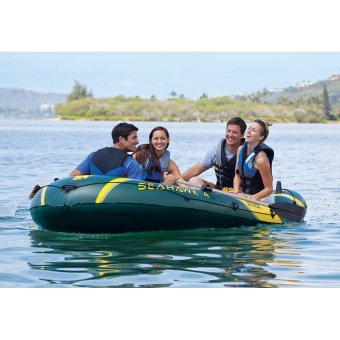 INTEX Seahawk 4, 4 Person Inflatable Boat Set with Aluminum Oarsand High Output Air Pump (Army Green) - 3