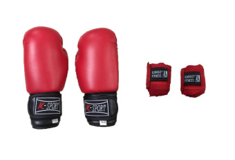 K Sports Boxing Gloves 10oz (Red) with Kango Handwrap