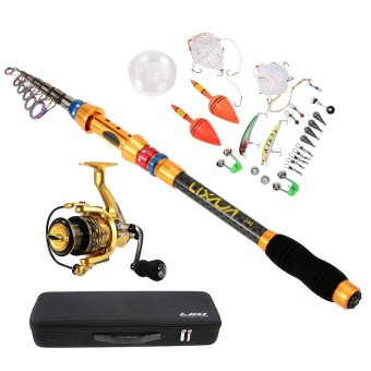 Lixada 2.4m/7.9ft Portable Lure Rod Set Spinning Rod and Fishing Reel Combos Full Kit Telescopic Fishing Rod Pole with Reel Line Lures Hooks Fishing Carrier Bag Case Fishing Gear Accessories Organizer - intl