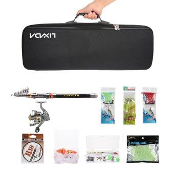 Lixada Telescopic 2.1M Fishing Rod and Reel Combo Full Kit Spinning Fishing Reel Gear Organizer Pole Set with 100M Fishing Line Lures Hooks and Fishing Carrier Bag Case Fishing Accessories - intl