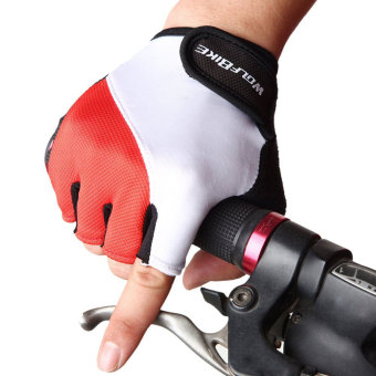 louiwill Wolfbike Bike Bicycle Cycling Riding Short Half Finger Gloves(Red,M) - INTL - picture 2