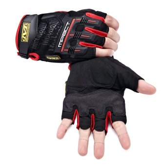 Mechanix Gym Tactical Fitness Gloves Army Military Sport Motorcycle Half Finger Fingerless Men Red - 3