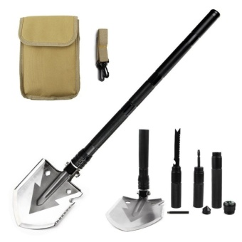 Military Portable Folding Shovel-Multi Purpose Steel Spade OutdoorSurvive Equipment for Camping,Hunting,Fishing,Gardening,ArmyEntrenching,Car Emergency - intl