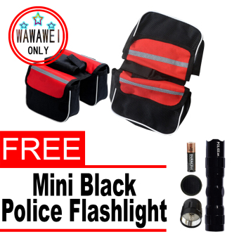 Mountain Bike front bag on the tube-in-one Bicycle and Motoroutdoor sport (Red) with free Mini Black Police Flashlight