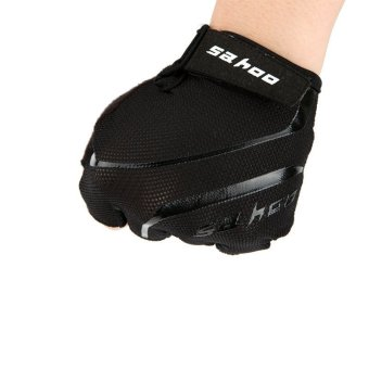 Mountain Road Anti-slip Bicycle Gloves MTB GEL Breathable Cycling Bike Fitness Men Half Finger Glove Black