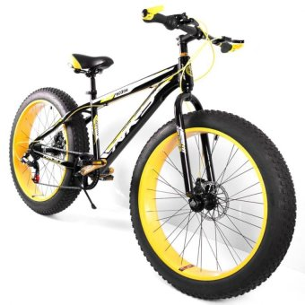 "NKS Kirin 26"" x 4"" Fat Tire Mountain Bike (Black/Yellow) with Laser LED Tail Light - picture 2"
