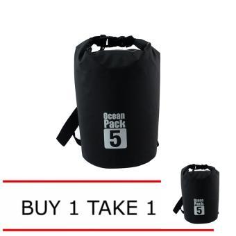 Ocean Pack 5 Portable Water Proof Nautical Dry Travel Tote Bag Buy1 Take 1 (Black)
