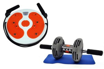 Power Stretch Roller Total Body Exerciser (Black) with TrainingMassage Foot Twister Trimmer Board (Orange)