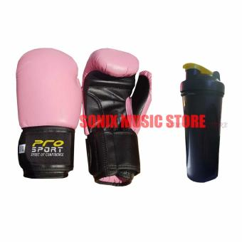 Pro Sports boxing Gloves 10oz Pink FREE Bottle Shaker