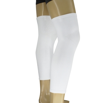 PROCARE PROTECT #6044W Leg Sleeves 17-inch, Thigh Knee ShinSupport, Elastic 4-way Spandex Seamless PAIR (White) - 2