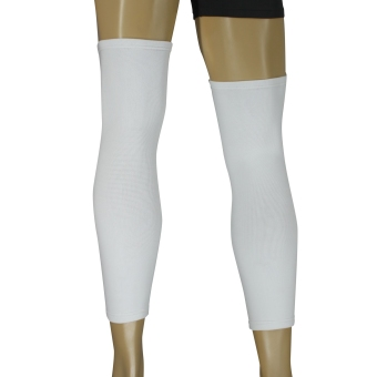 PROCARE PROTECT #6044W Leg Sleeves 17-inch, Thigh Knee ShinSupport, Elastic 4-way Spandex Seamless PAIR (White) - 3