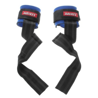 RHS Online Weight Lifting Bar Grips Straps Wrist Support GymTraining Wraps Bangage Gloves(Blue) - intl
