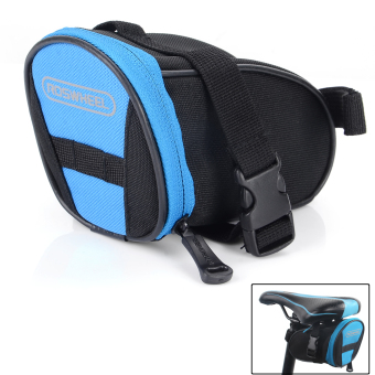 ROSWHEEL13656-B Cycling Bicycle Bike Saddle Seat Polyester Tail Bag - Black + Blue (1.3L) - picture 2
