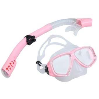 S & F Swimming Diving Protective Goggle Breathing Tube Snorkeling Mask Set Pink - INTL