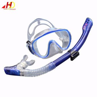 Snorkeling diving set kit gear Equipment TemperedGlass Silicone Fog proof Mask  Full dry Breath tube SwimSpearfish Swim Tools (Blue)