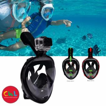 Surface Scuba Mask with Gopro Dry Full Face Diving Mask forGOPRO/SJCAM/YI Action Camera (BLACK) L/XL
