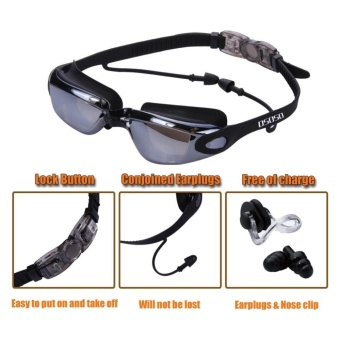 Swim Goggles + Swim Cap + Case + Nose Clip + Ear Plugs,Clear Swimming Goggles Coated Lens No Leaking Anti Fog UV Protection for Adult Men Women Youth Kids Child,Black - intl - 3