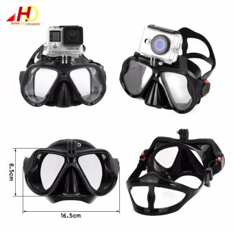 Swimming Diving Scuba Mask Silicone Tempered Glass Anti-Fog Gogglesw/ Universal Action Camera Docking System (Black) - 3