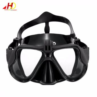 Swimming Diving Scuba Mask Silicone Tempered Glass Anti-Fog Gogglesw/ Universal Action Camera Docking System (Black) - 2