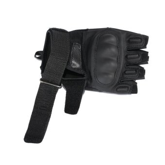 Tactical Motorcycle Gloves For Men Military Outdoor Airsoft Paintball Army Leather Mittens Fingerless Gloves Black (Intl) - 4