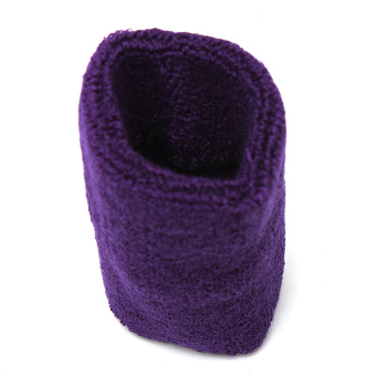 Unisex Soft Cotton Sports Sweat Band Wristband Terry Cloth Tennis Basketball New Purple - picture 2