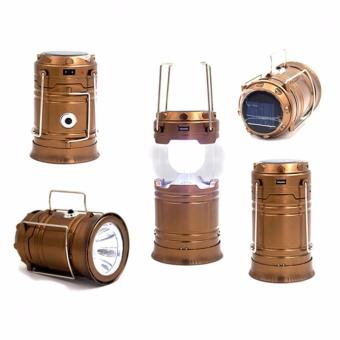 VeryGood XF-5800T Rechargeable Solar Camping Lantern Emergency LEDLight Built-in Mobile Charger Ideal for Outdoor (Gold)