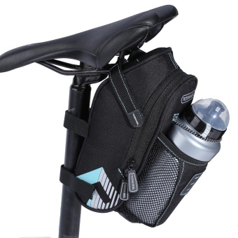 Waterproof Bike Rear Seat Saddle Bag With Water Bottle Pocket (SkyBlue) - intl