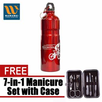 Wawawei Aluminum Alloy Cycling Bicycle Sports Water Bottle (Red)with free Microbishi 7-in-1 Manicure Set with Case best quality(DarkBrown)