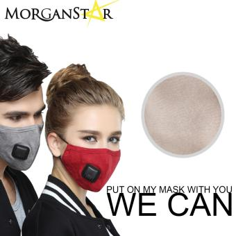 Wecan 2.5 pm dustproof plain cotton face masks with filterbreathing valve (Female) (Cream)