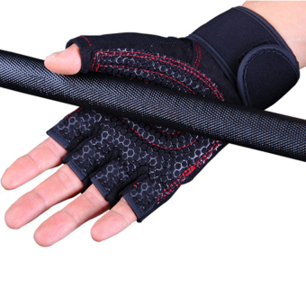 Weight Lifting Gym Fitness Gloves with Wrist Wrap and Grip - ForMen's and Women's - Half-Finger Design Padded Breathable WashableQuality Material Red M - intl - 5