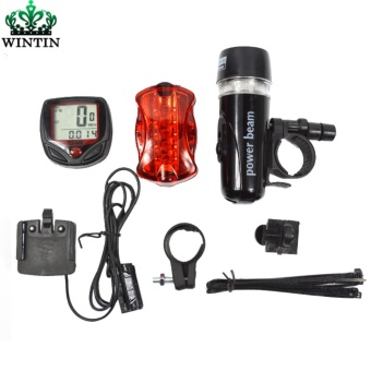 Wintin Bicycle Speedometer and 5 LED Mountain Bike Cycling Light Head and Rear Lamp Light Super Bicycle Accessories Set - intl