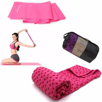 Yoga Mat Microfiber Towel with Carrying Bag (Pink) With Yoga Rubber Stretch Resistance Exercise Workout Fitness Band (Pink)