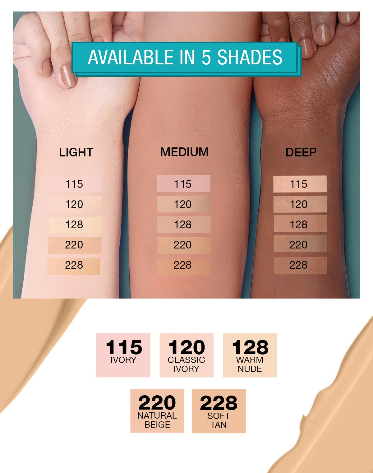 Maybelline Fit Me Foundation Chart Bamba