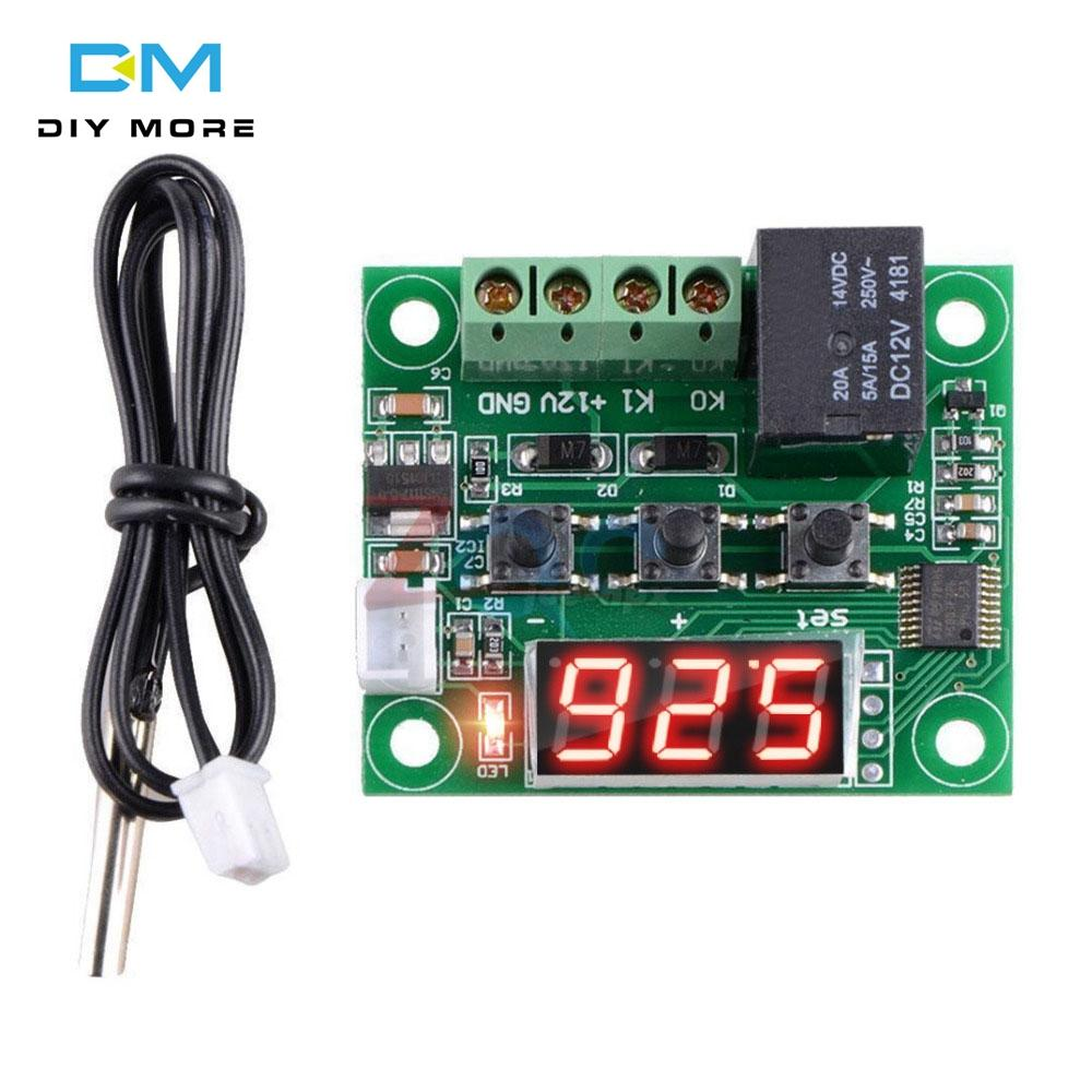Original Diymore Arduino W1209 LED Digital Thermostat Temperature Control  Thermometer Thermo Controller Switch Module With DC 12V Waterproof NTC