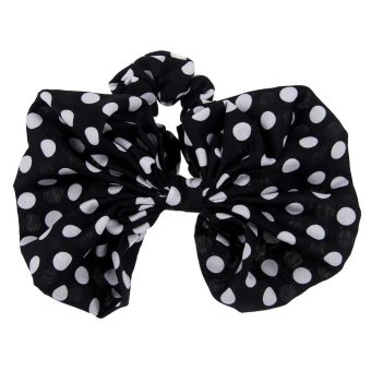 10 Colors Women Scrunchie Ponytail Holder Satin Ribbon Bow Hair Band Hair Rope Black White - picture 2