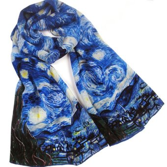 100% Silk Oil Painting Art Long Scarf Shawl Wrap Van Gogh StarryNight Inspired - intl