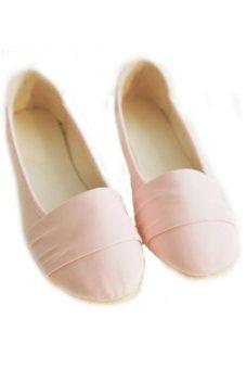 106 Women's Shoes Ballet Flats Comfort PU Loafers (Pink)