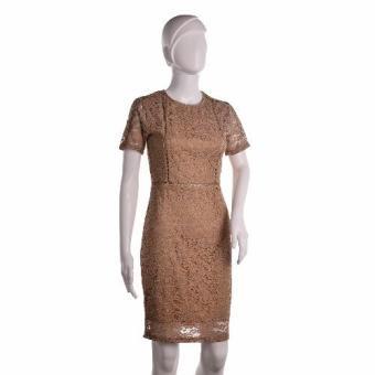 #128 Lace Overlay Short Sleeved Pencil Cut Korean Dress (Tan) - 2