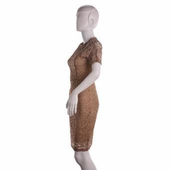 #128 Lace Overlay Short Sleeved Pencil Cut Korean Dress (Tan) - 3