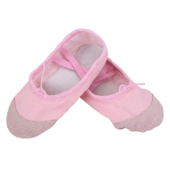 1Pair Cute Girls Canvas Dancing Flat Ballet Shoes Kids Gym SlipperShoes- Pink - intl