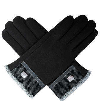 1Pair Winter Warm Touch Screen Riding Drove Gloves for Men Black - Intl